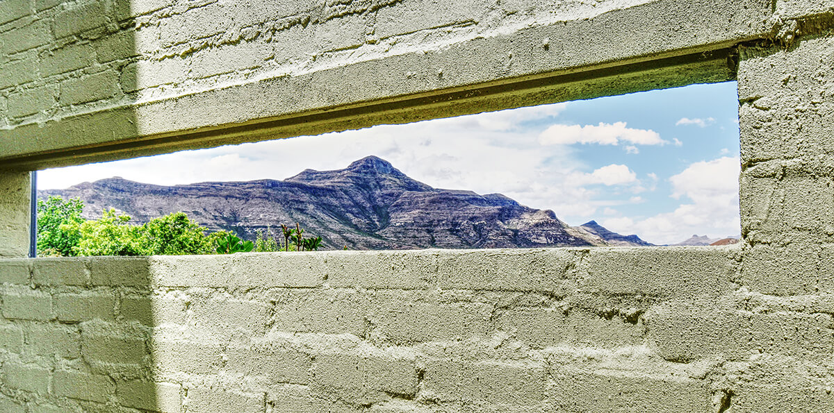 Rustic Red Studio view of the Maluti Mountains